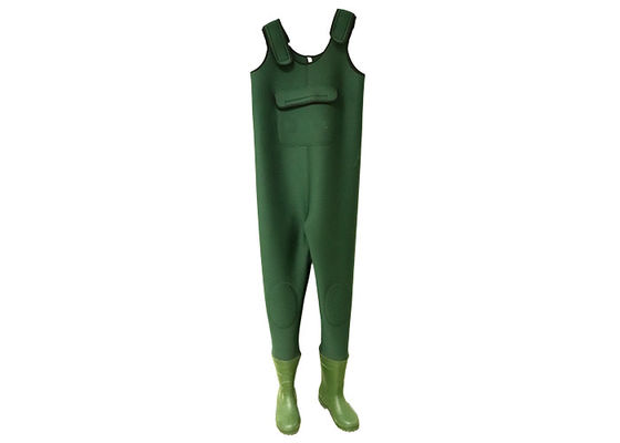 China 100% Insulated Waterproof Fishing Waders , Green Neoprene Chest High Waders  supplier