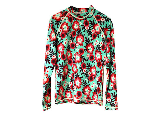Scuba Womens Rash Guard Shirt Flower Pattern For Diving Surfing Swimming