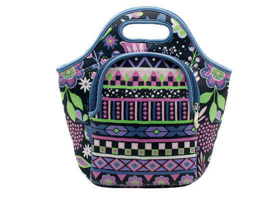 Small Kids Neoprene Lunch Bag , Front Zipper Pocket Insulated Lunch Tote
