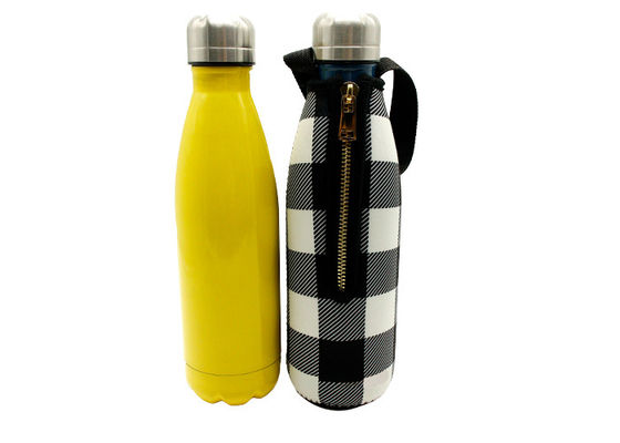 17 Oz Drink Water Bottle Carrier With Strap  , Gold Metal Zipper Wine Bottle Holder