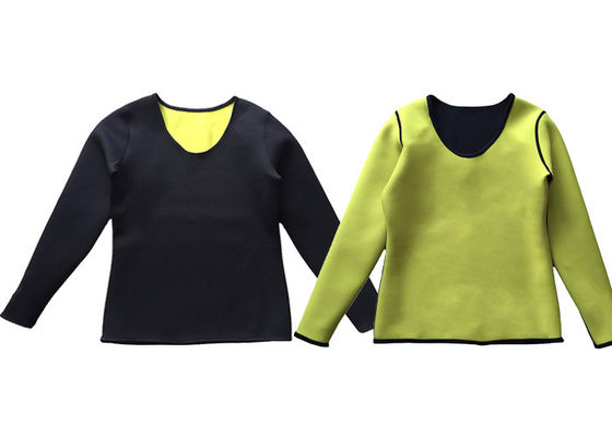 Long Sleeve Neoprene Slimming Bodysuit Sauna T Shirt Custom Color For Women Men