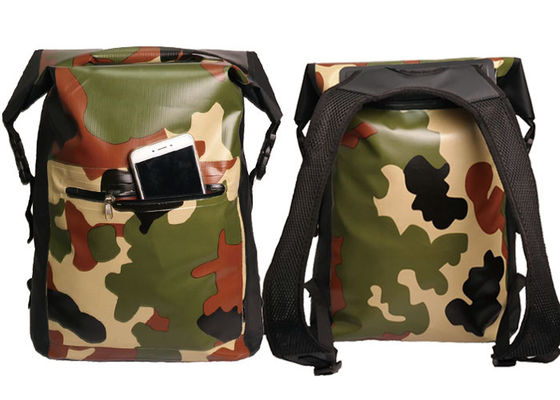 Camping Camo Dry Bag Backpack Roll Top Closure With Front Zippered Pocket
