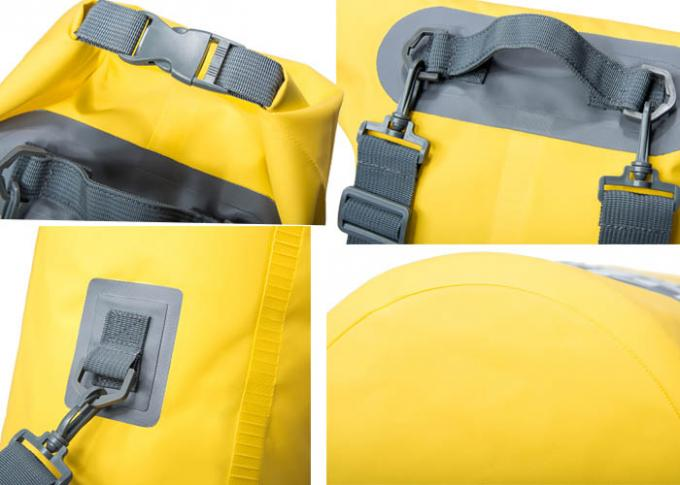 Traveling Kayak Dry Gear Bag Yellow Color 21 X 56 Cm With Handle Strap