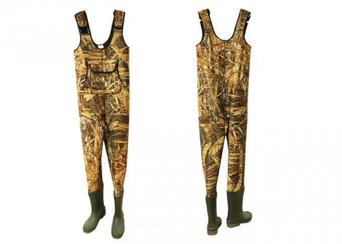 Camo Neoprene Fishing Waders , Anti Slip Breathable Bootfoot Chest Waders